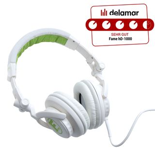 Fame hD-1000 lime DJ Headphone weiß-limette