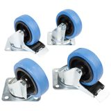 CasemaXX Casters Set incl. Bolts without board - 4x Blue Wheels 100mm Product Image