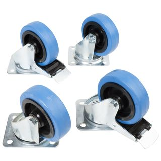 CasemaXX Casters Set incl. Bolts without board - 4x Blue Wheels 100mm Zdjęcie produktu