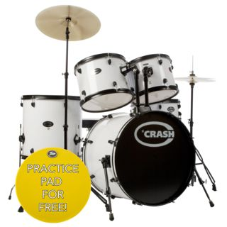 Crash Force Five DrumSet, White, Black HW Product Image