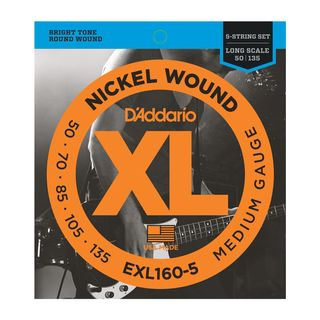 D'Addario Bass Strings XL Nickel 50-135 50-70-85-105-135, EXL160-5 Product Image