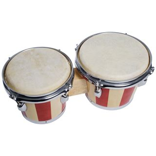 "Fame DB-105 Bongos 7"" + 8"", Natural + Red Stripes Product Image"