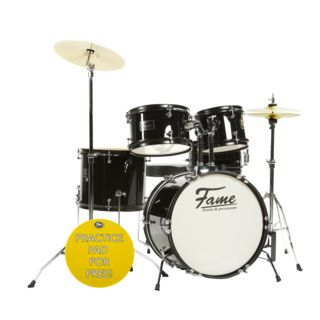 "Fame Kiddyset 5 PC Junior Drumset ""Elias"", Black Product Image"
