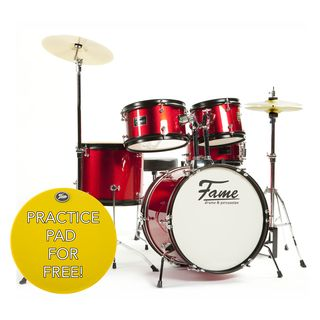 "Fame Kiddyset 5 PC Junior Drumset ""Elias"" Red Product Image"