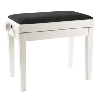 Fame Klavierbank, White Satin w. Black Velour Seat Product Image