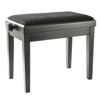 Fame Piano Bench - Black Satin with Black Velour Seat Product Image