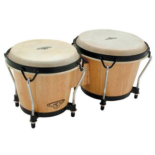 "Latin Percussion Traditional Bongos CP221-AW, 6""&7"", Natural, Black Rims Product Image"