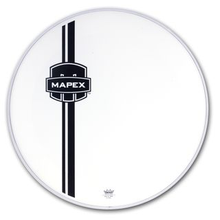 "Mapex Bass Drum Front Head 22"", white, black Logo Product Image"