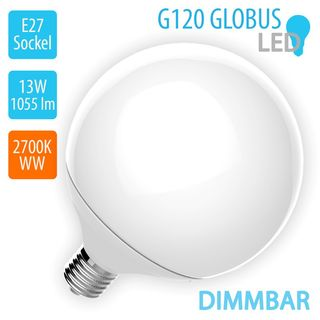 V-TAC 13W LED E27 120 Globe 2700K Warm White 1055lm Product Image