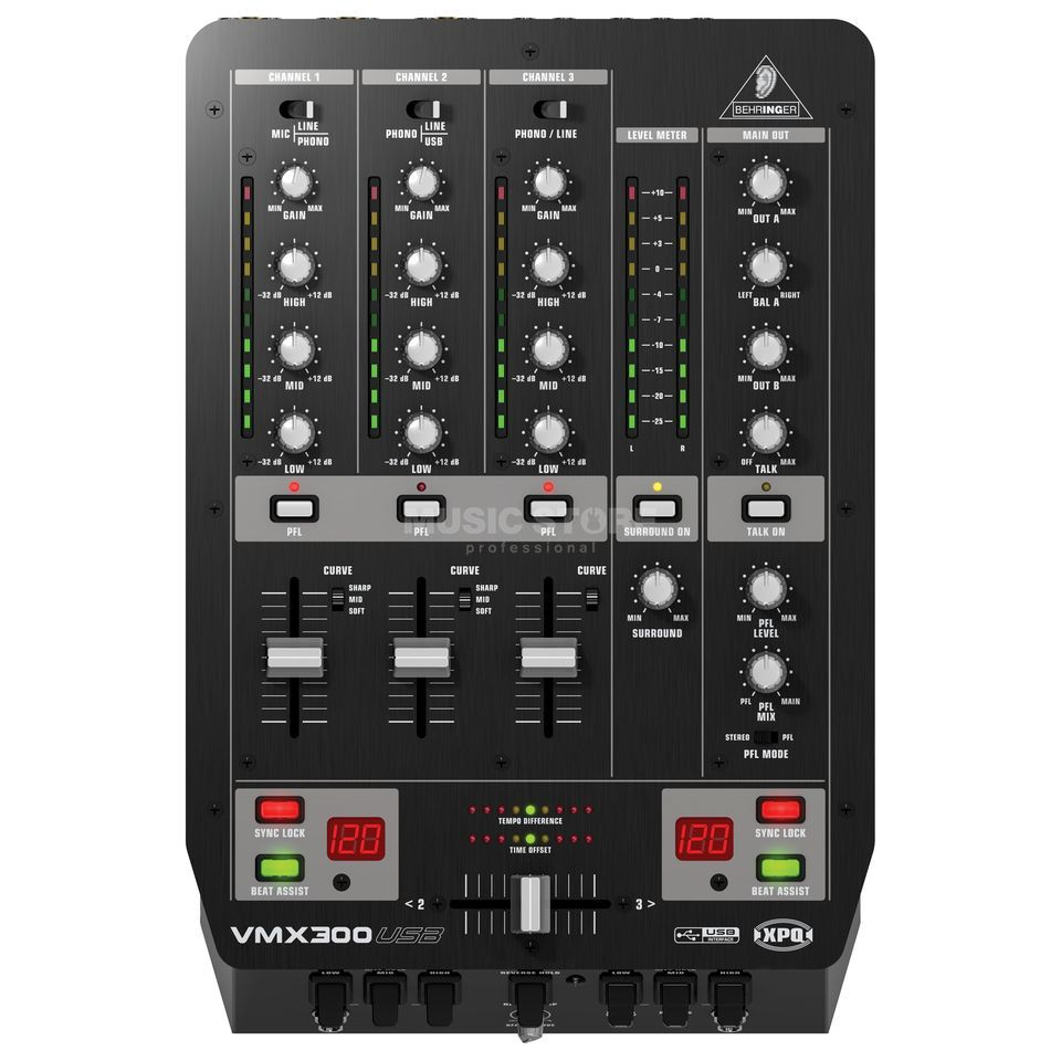 Behringer VMX300USB 3 Channel DJ Mixer with USB Productafbeelding