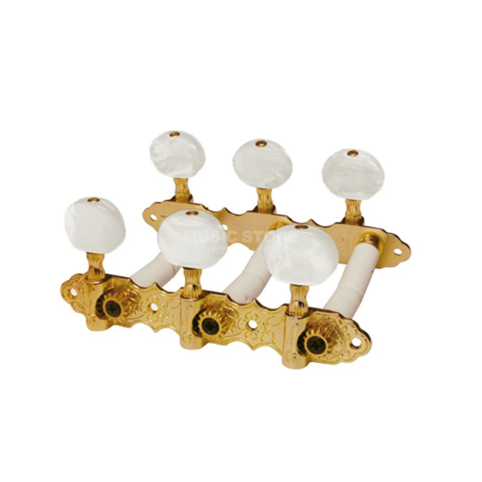Boston Klassik Mechaniken gold White Pearl Buttons 35mm Produktbillede