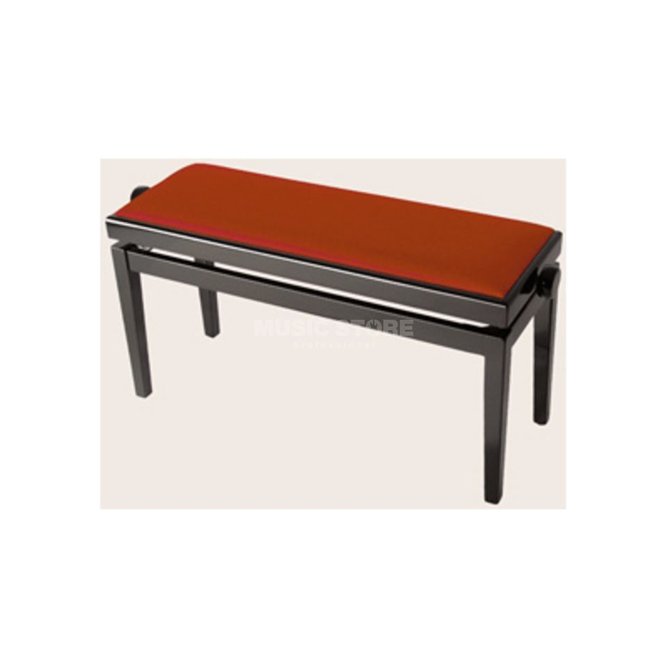 Burghardt 106 Duettbank Black polished Double Bench Velvet red Produktbillede