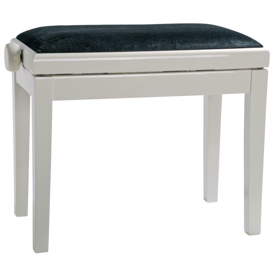 Burghardt B5 Piano Bench White Polished Seat Cover Velvet Black