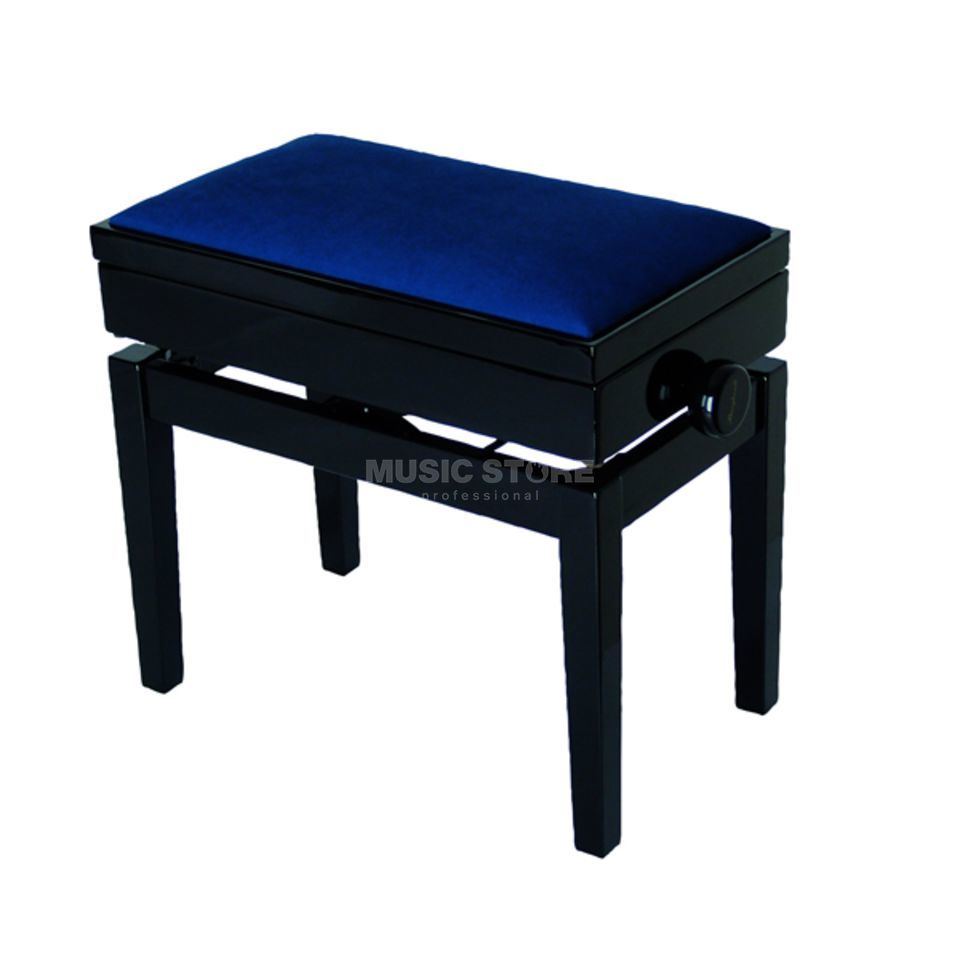 Burghardt B8 Piano Bench with Compartment - Velvet - Dark Blue Produktbillede