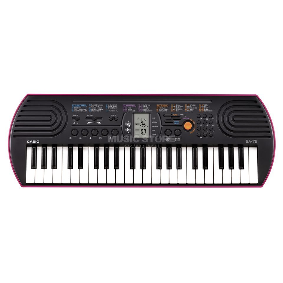 Casio SA 78 Keyboard, black-pink Produktbillede