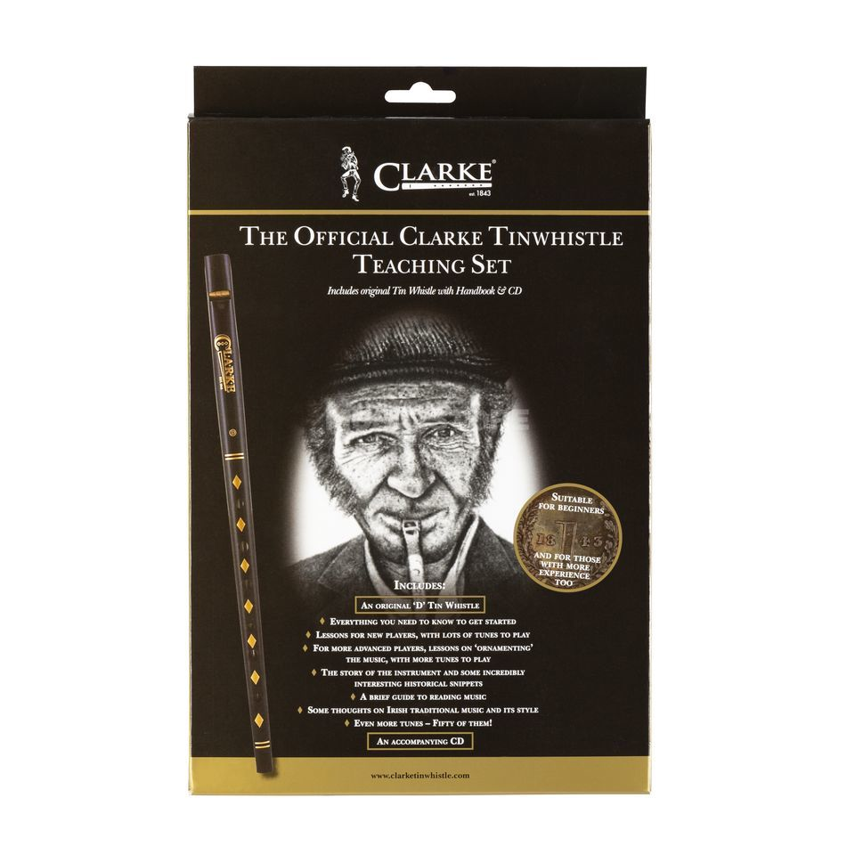 Clarke Tin Whistle Beginner Set in D with book and CD Produktbillede