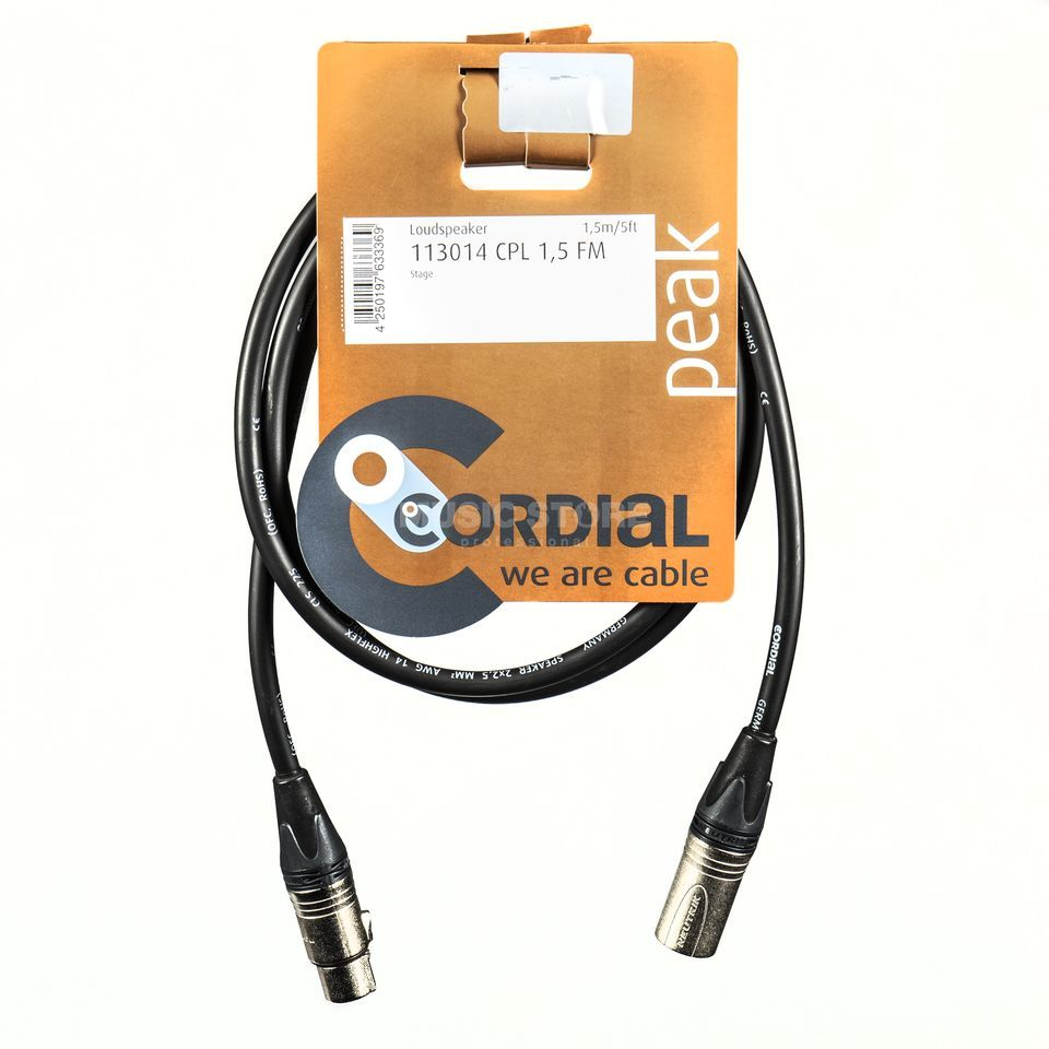 Cordial CPL 1.5 FM peak Speaker Cable XLR 1,5m 2x2,5 mm² Neutrik Produktbillede