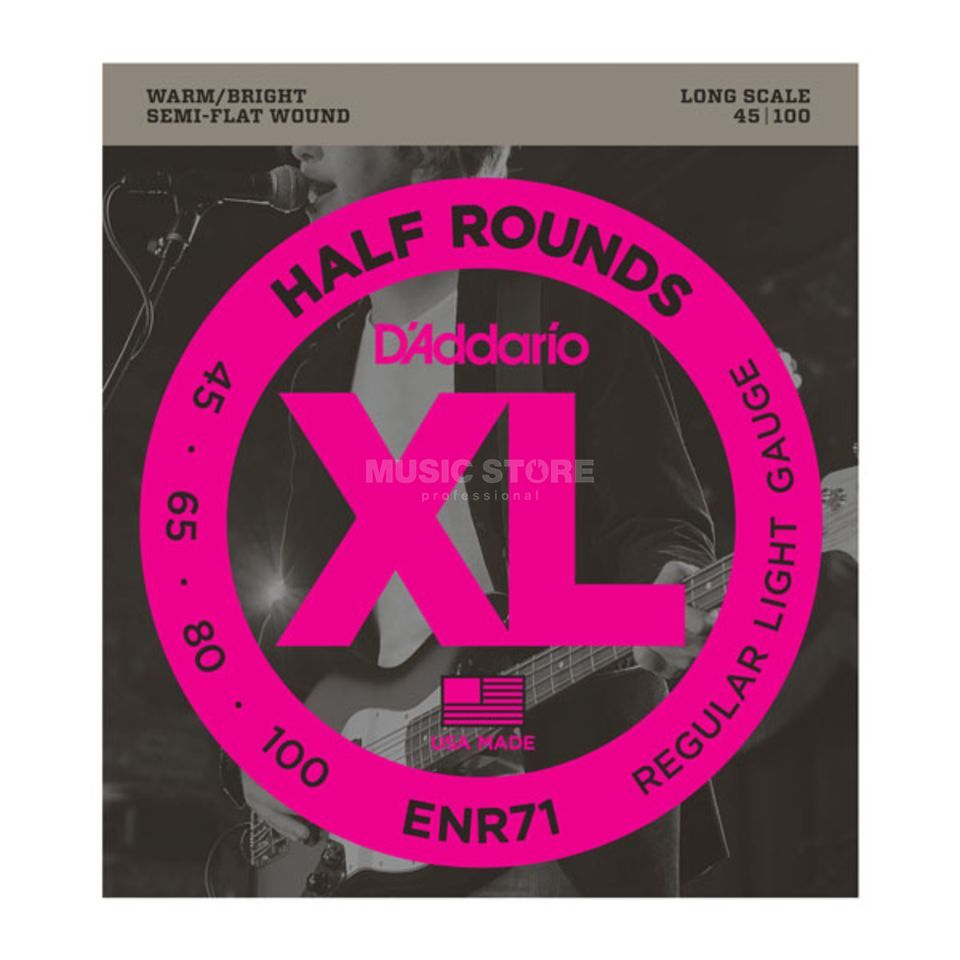 D'Addario 4 Set Bass XL Half Rounds 45-100 45-65-80-100, ENR71 Product Image