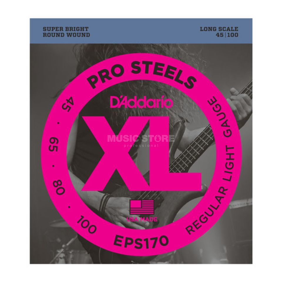 D'Addario 4er bas XL Pro Steels 45-100 45-65-80-100, EPS170 Productafbeelding