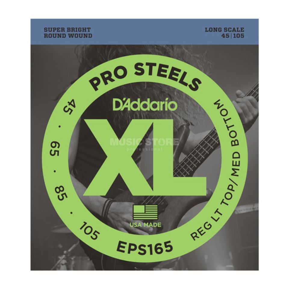 D'Addario 4er bas XL Pro Steels 45-105 45-65-85-105, EPS165 Productafbeelding