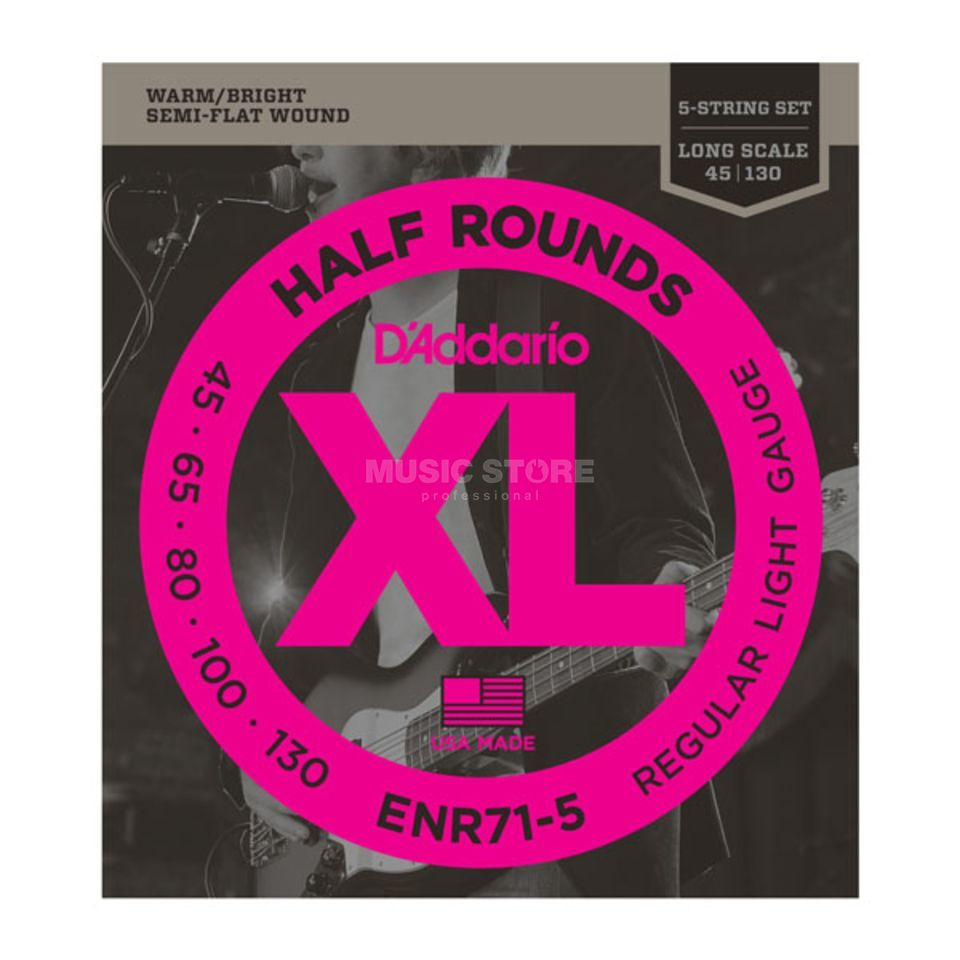 D'Addario 5 Set Bass XL Half Rounds 45-130 45-65-80-100-130, ENR71-5 Product Image