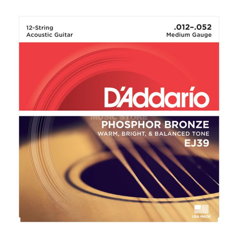 D'Addario A-Guitar Strings EJ39 12-52 12-String, Medium Produktbillede