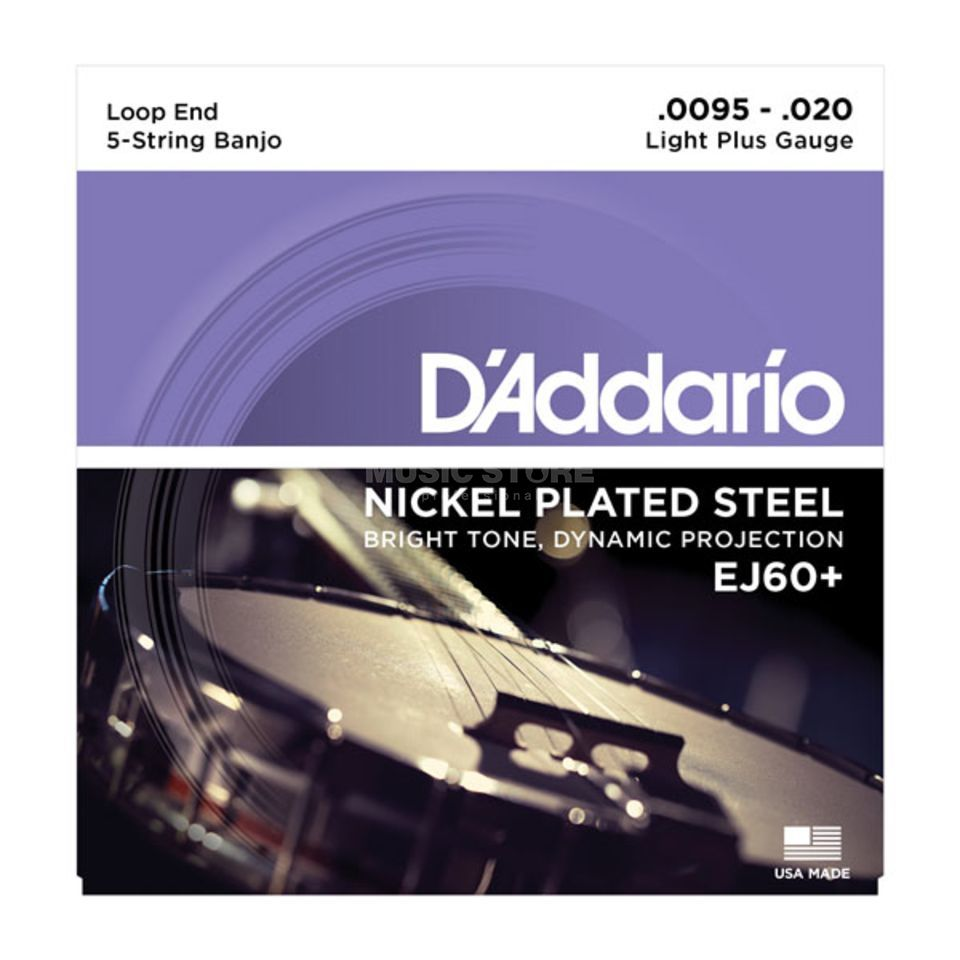 D'Addario Banjo Saiten EJ60+ 09-20 5-String Nickel Loop End Produktbild