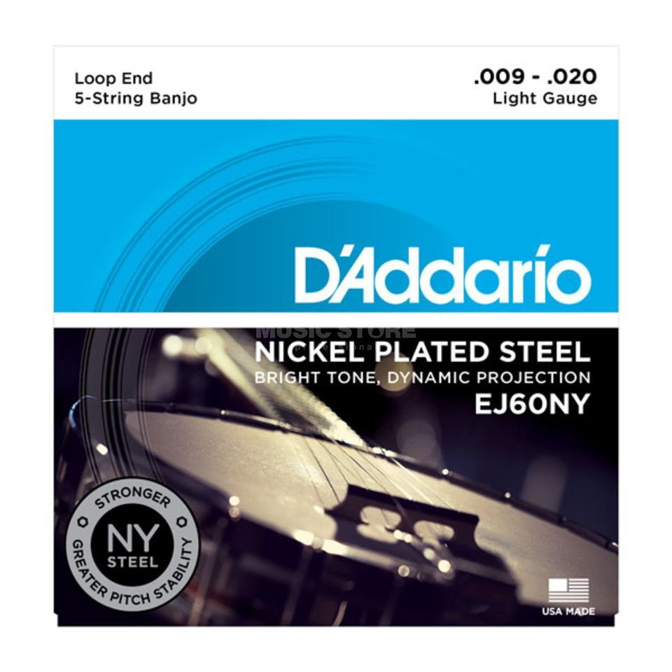 D'Addario Banjo Strings EJ60NY 09-20 5-String Nickel Loop End Produktbillede