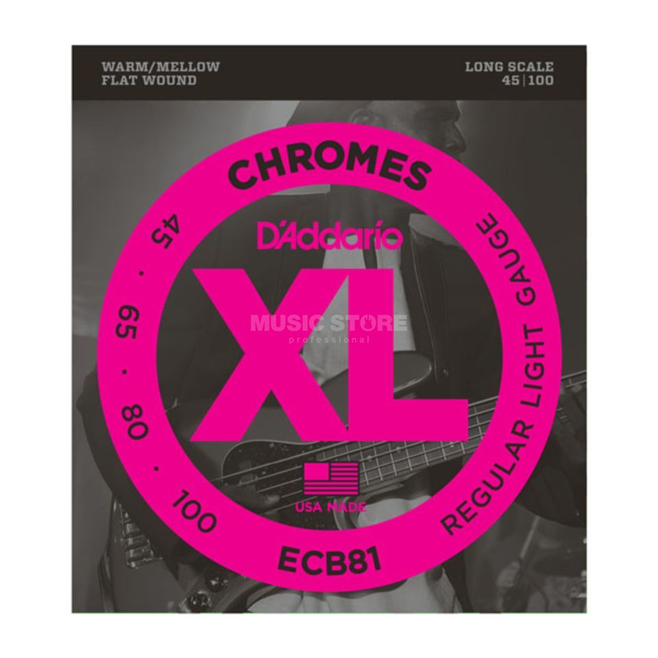 D'Addario Bass Chromes Flat 45-100 45-65-80-100, ECB81 Product Image
