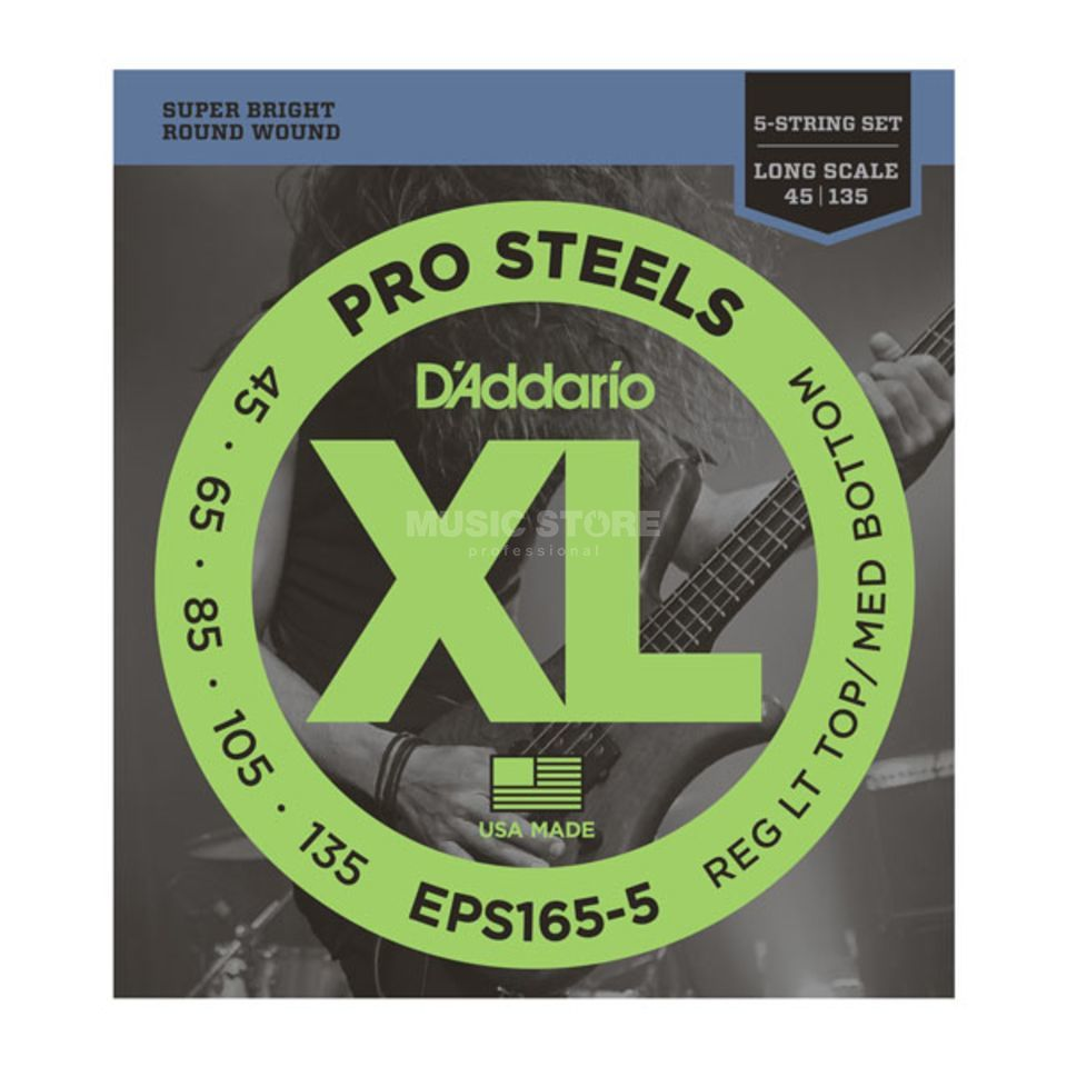 D'Addario Bass Strings Pro Steels 45-135 45-65-85-105-135, EPS165-5 Produktbillede