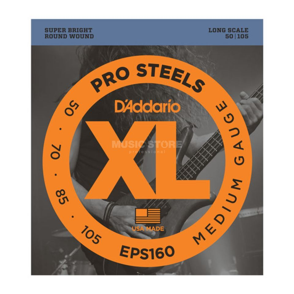 D'Addario Bass Strings Pro Steels 50-105 50-70-85-105, EPS160 Product Image