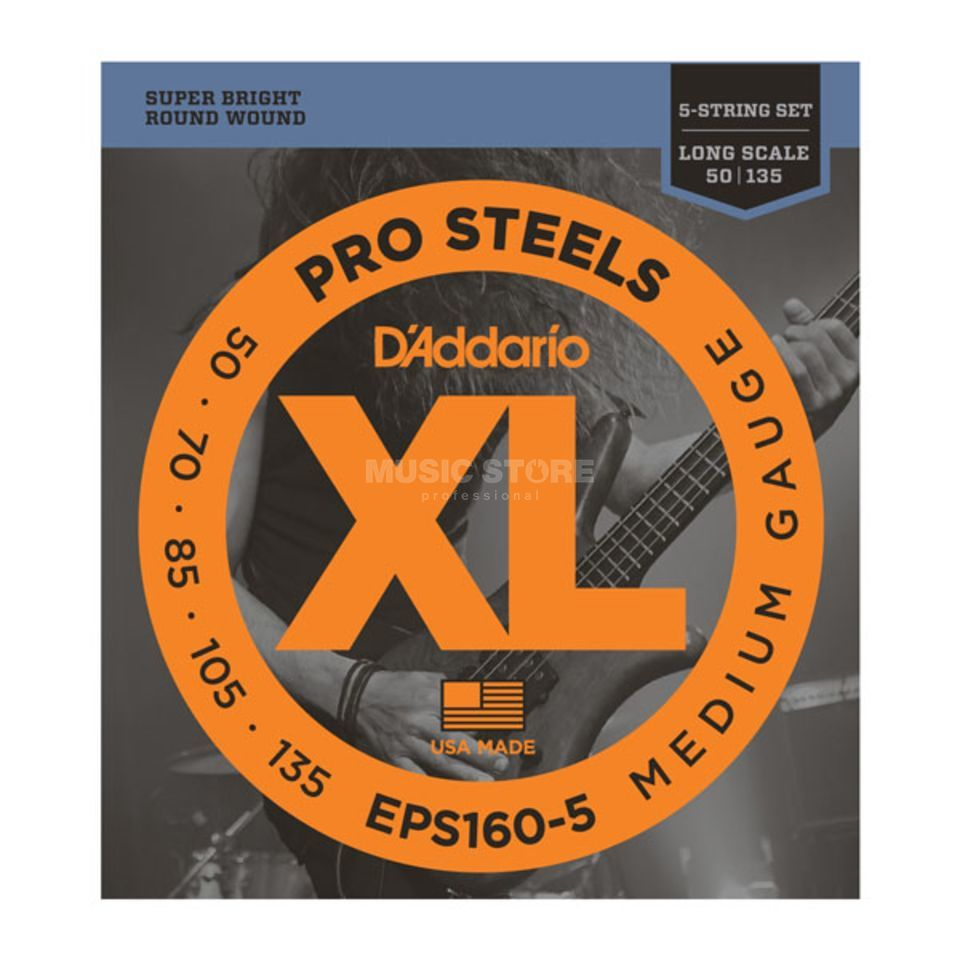 D'Addario Bass Strings Pro Steels 50-135 50-70-85-105-135, EPS160-5 Product Image