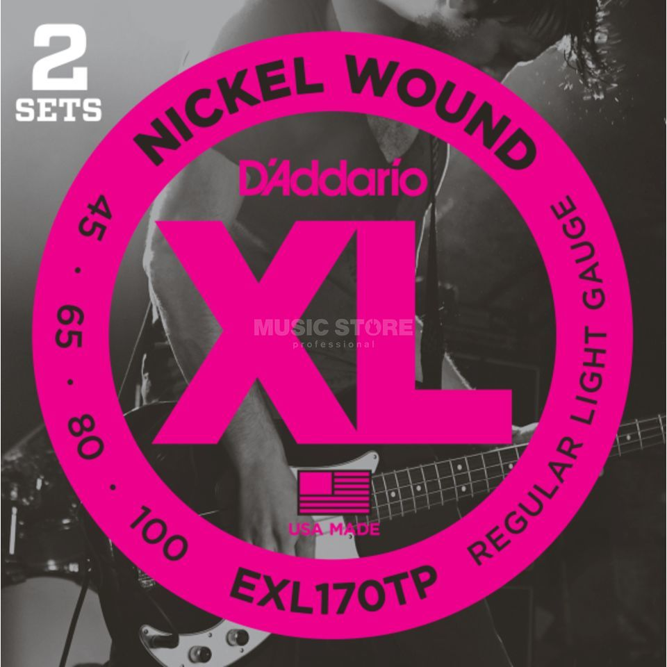 D'Addario Bass Strings XL 45-100 2 Sets 045-065-080-100, EXL170TP Product Image