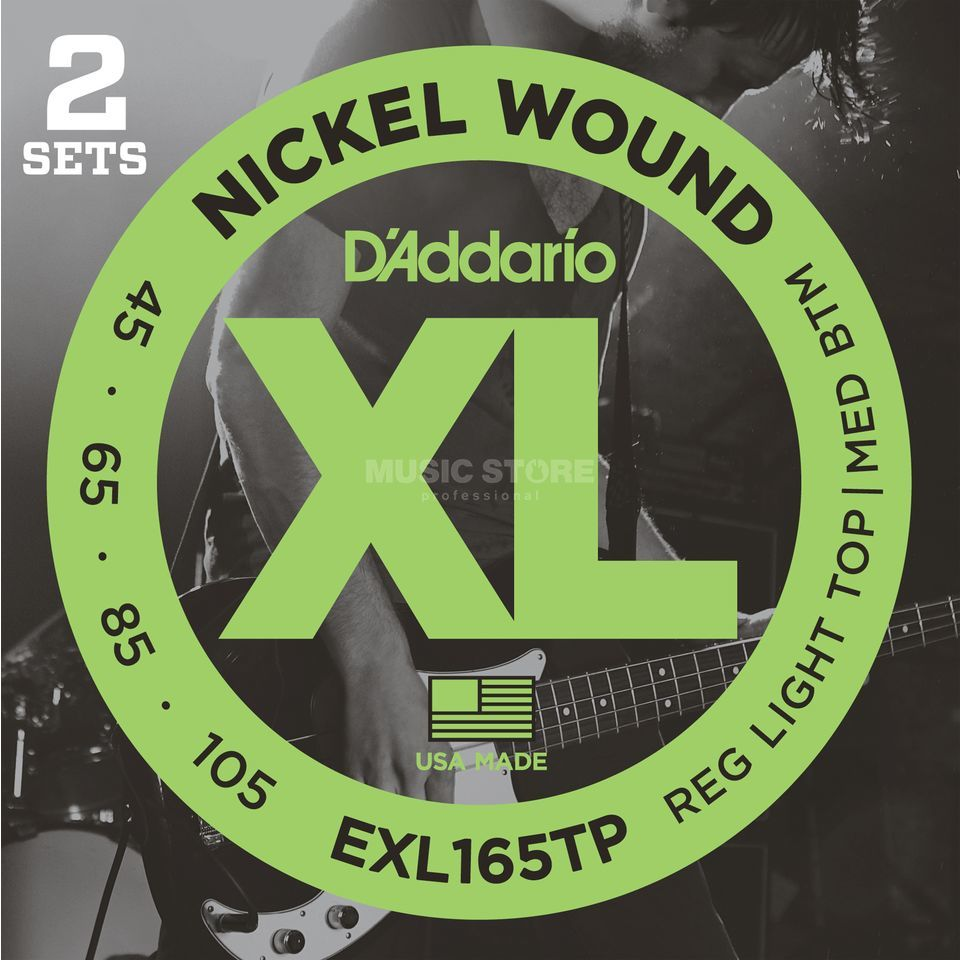 D'Addario Bass Strings XL 45-105 2 Sets 045-065-085-105, EXL165TP Product Image