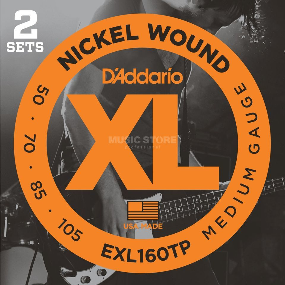 D'Addario Bass Strings XL 50-105 2 Sets 050-070-085-105, EXL160TP Produktbillede