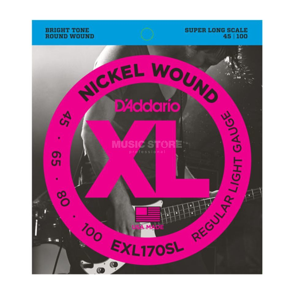 D'Addario Bass Strings XL Nickel 45-100 45-65-80-100, EXL170SL Immagine prodotto