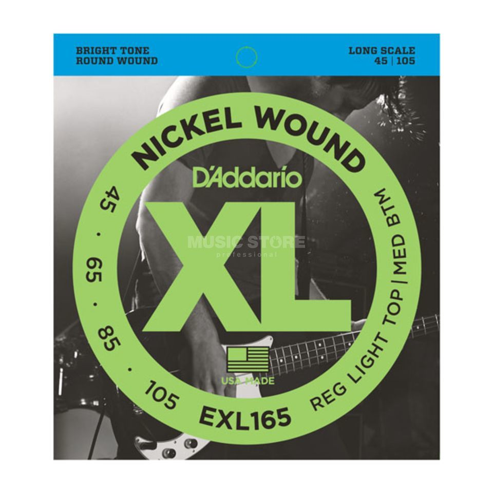 D'Addario Bass Strings  XL Nickel 45-105 45-65-85-105, EXL165 Immagine prodotto
