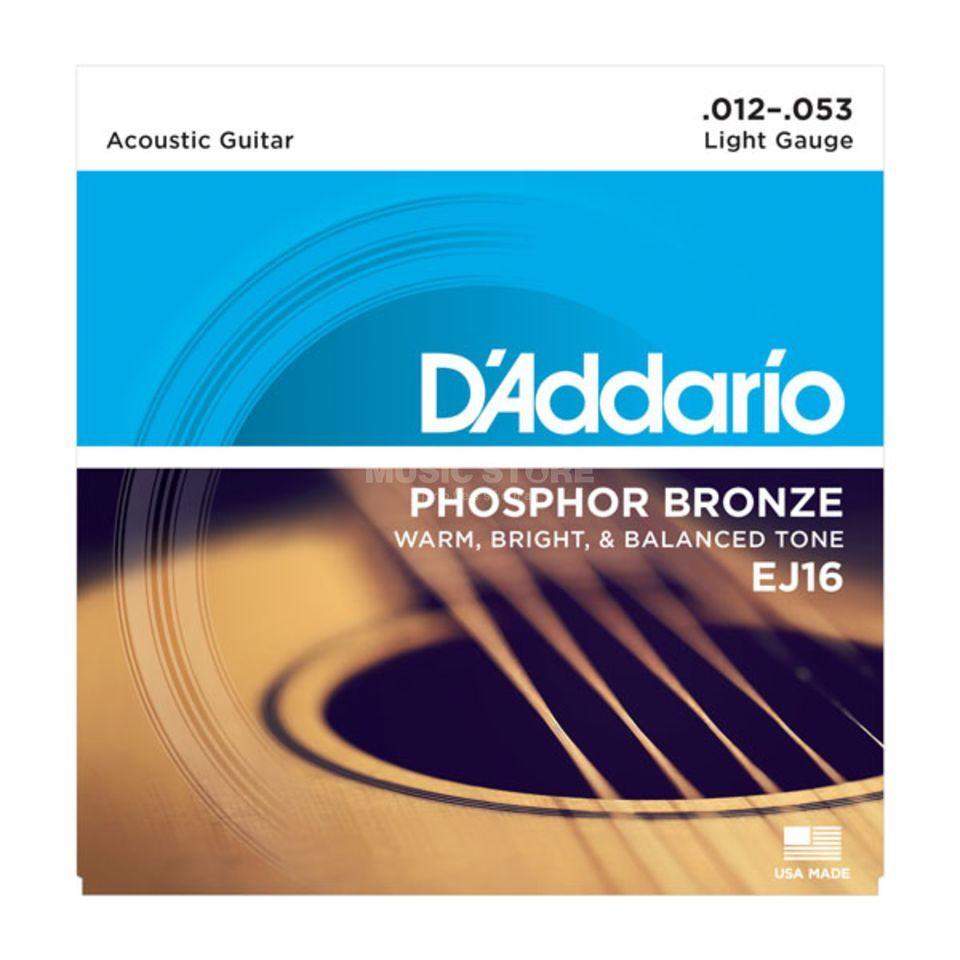 D'Addario cordes guitare acoustique, 12-53,EJ16 Ph.Bronze, light Image du produit