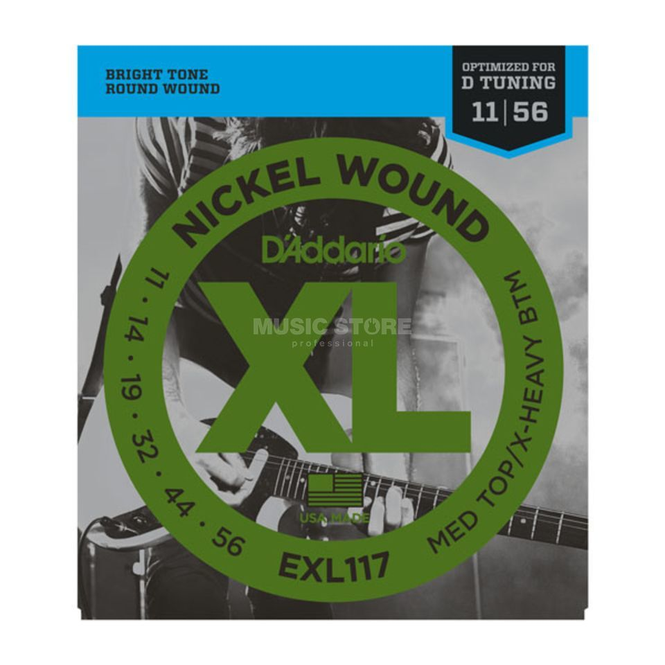 D'Addario E-Git.String EXL117 11-56 Drop Nickel Wound Drop D Tuning Produktbillede