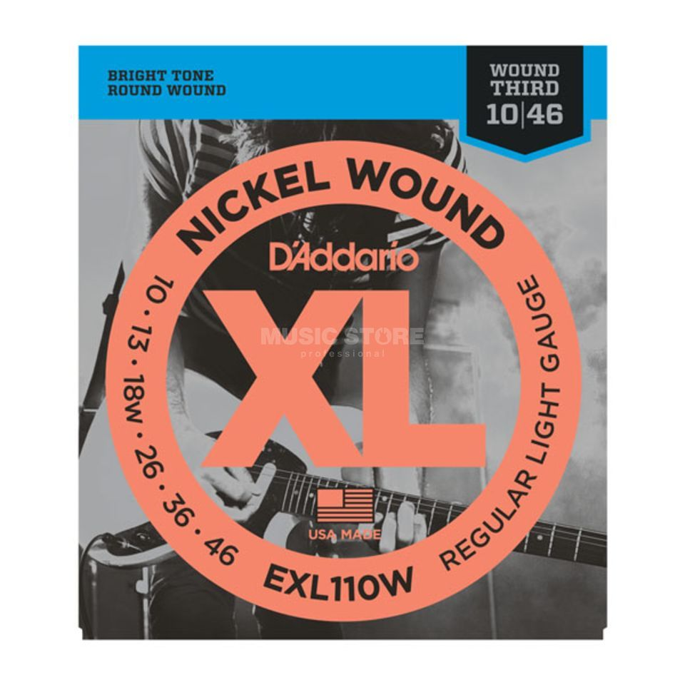 D'Addario E-Guit.Strings EXL110W 10-46 NW Wound 3rd Produktbillede