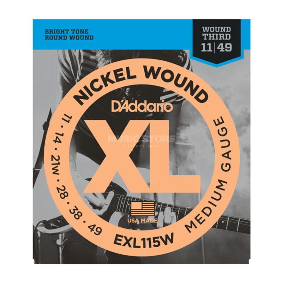 D'Addario E-Guit.Strings EXL115W 11-49 NW Wound 3rd Produktbillede