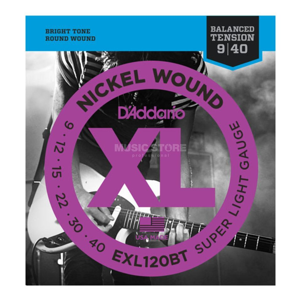 D'Addario E-Guit.Strings EXL120BT 09-40 Nickel Wound Balanced Tension Produktbillede
