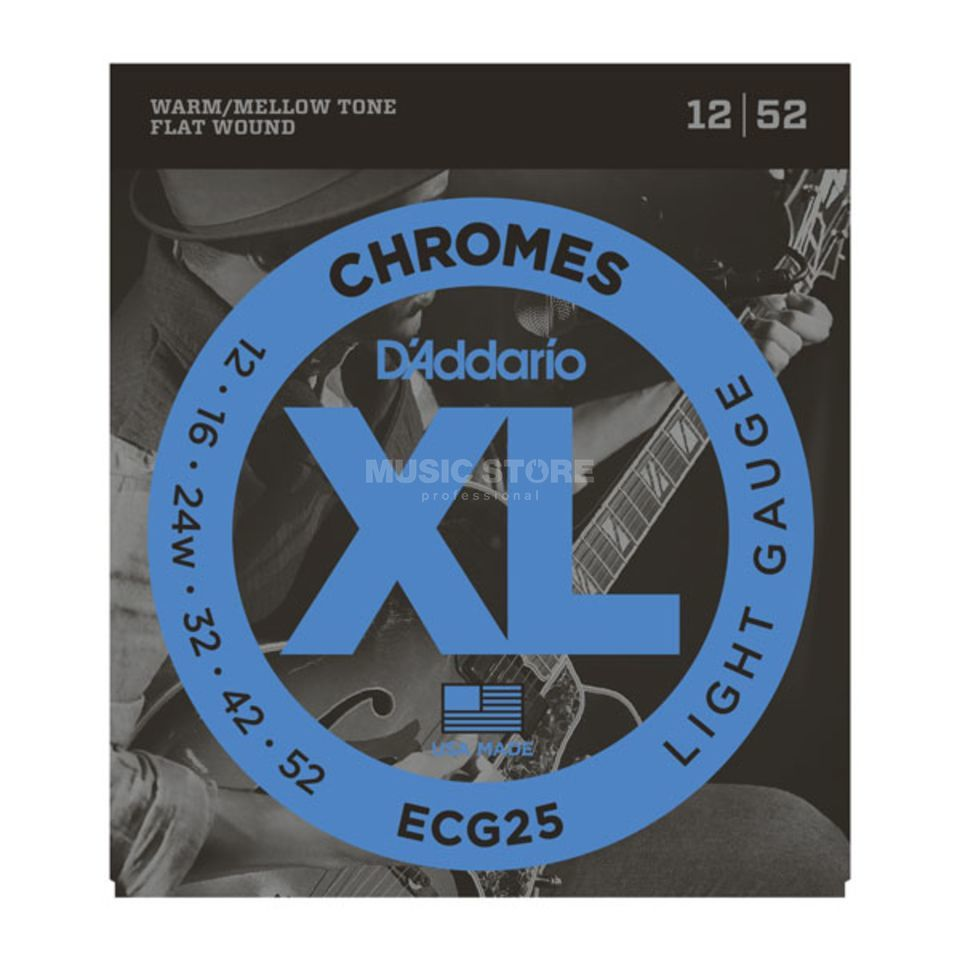 D'Addario E-Guitar Strings ECG25 12-52 Chromes Flatwound Produktbillede