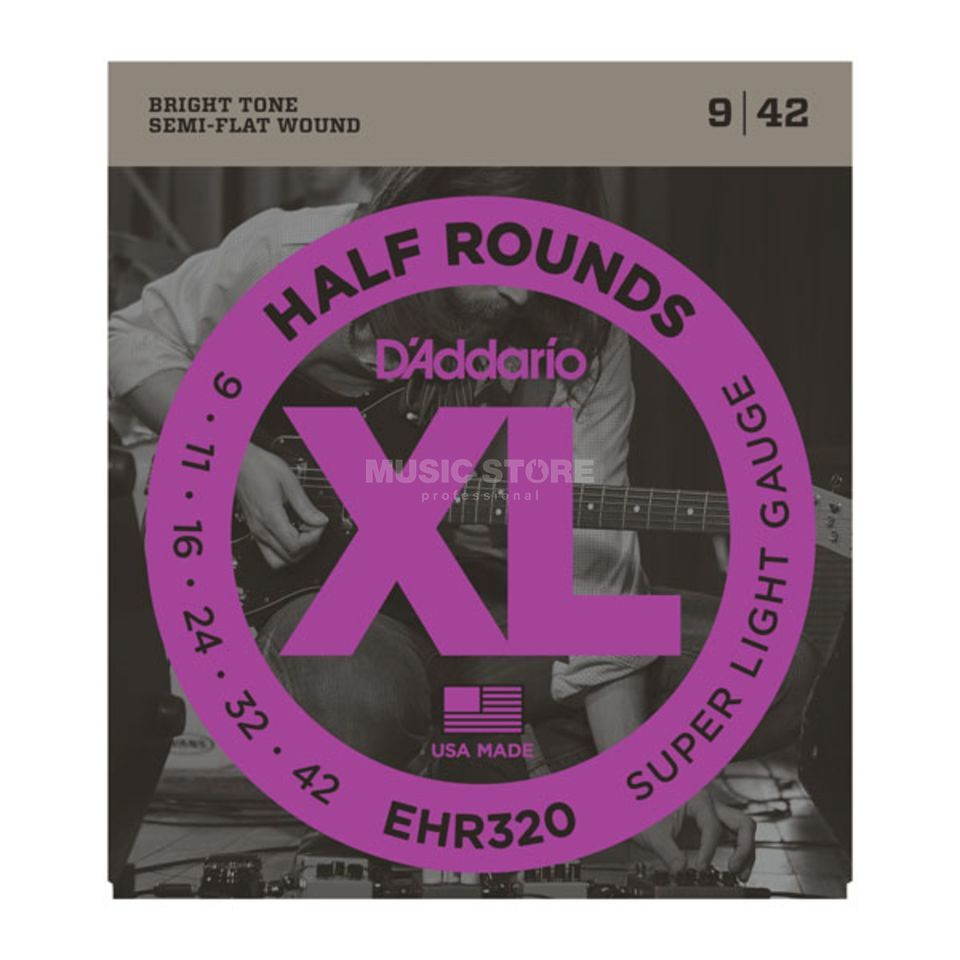 D'Addario E-Guitar Strings EHR320 09-42 Half Rounds Stainless Steel Produktbillede