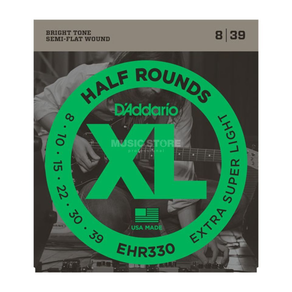 D'Addario E-Guitar Strings EHR330 08-39 Half Rounds Stainless Steel Produktbillede
