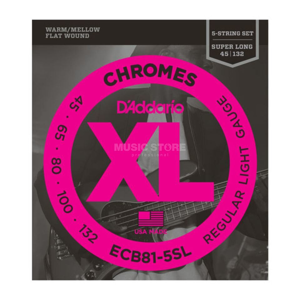 D'Addario ECB81-5SL 45-132 Chromes 5-string Flatwound Stainless Productafbeelding