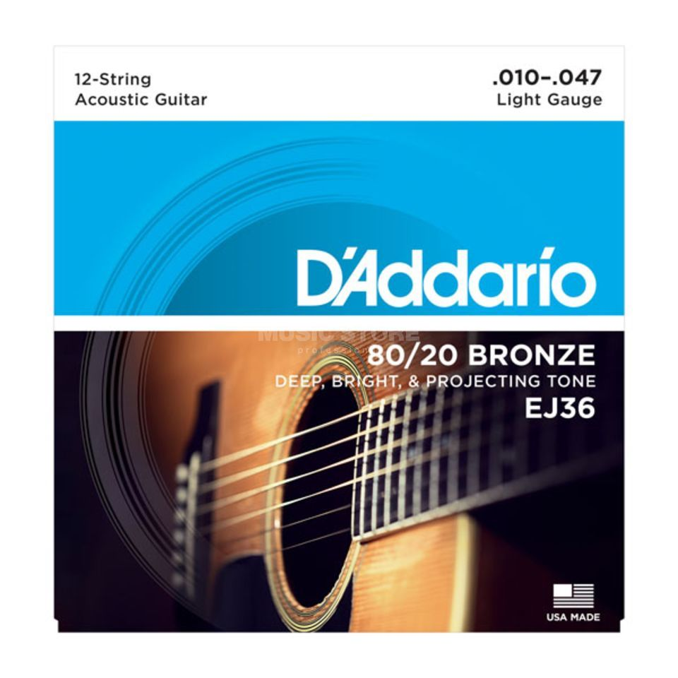 D'Addario EJ36 10-47 12-string 80/20 Bronze Light Product Image