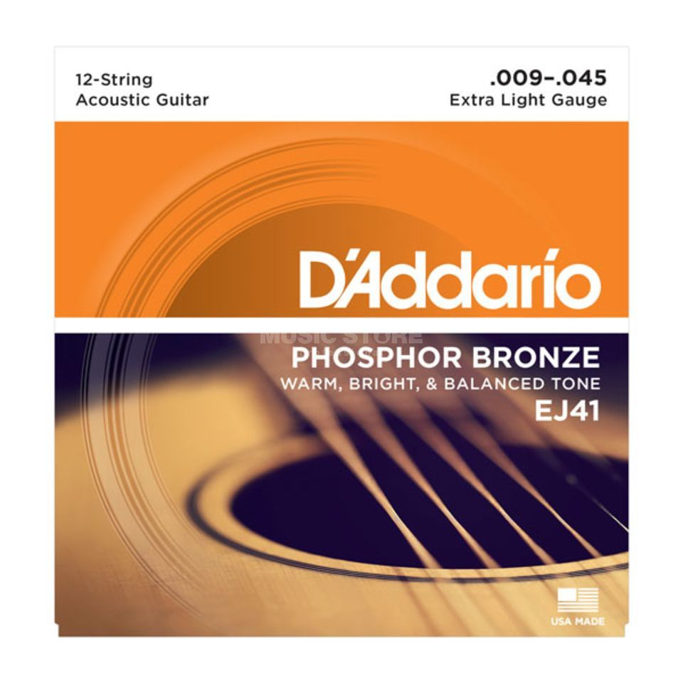 D'Addario EJ41 09-45 12-string Phosphor Bronze Extra Light Produktbild
