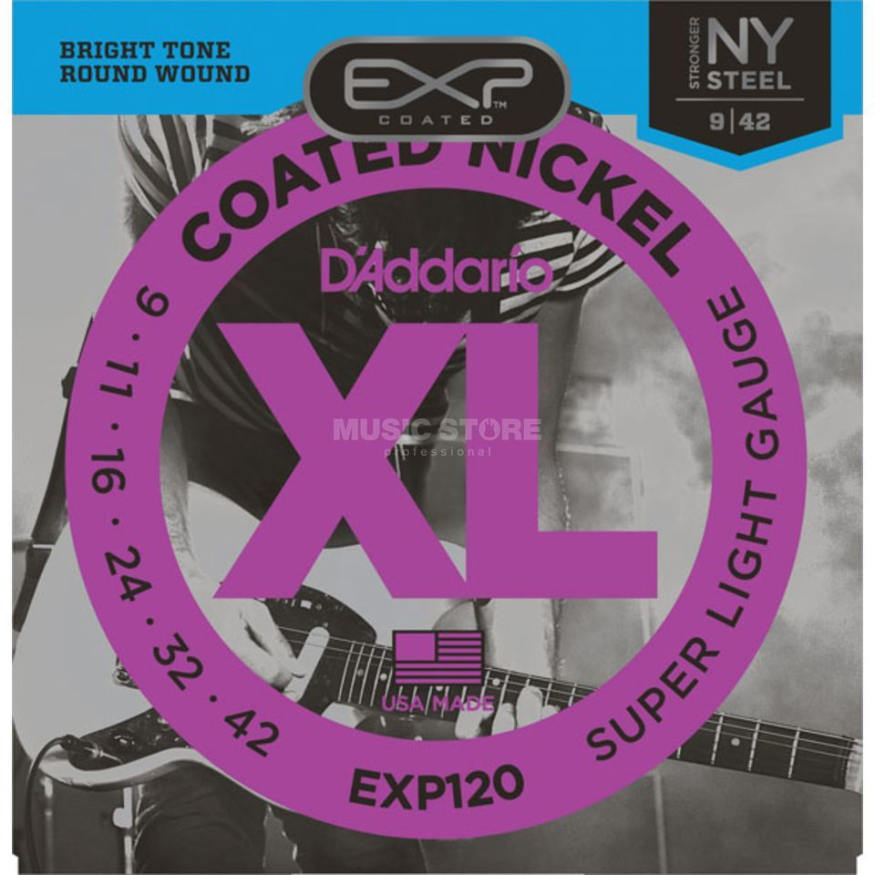 D'Addario EXP120 Super Light Electric Gu itar Strings, 9-42   Produktbillede