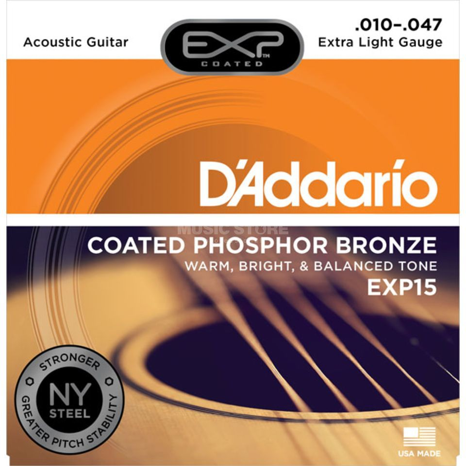D'Addario EXP15 10-47 Coated Phosphor Bronze Extra Light Produktbild